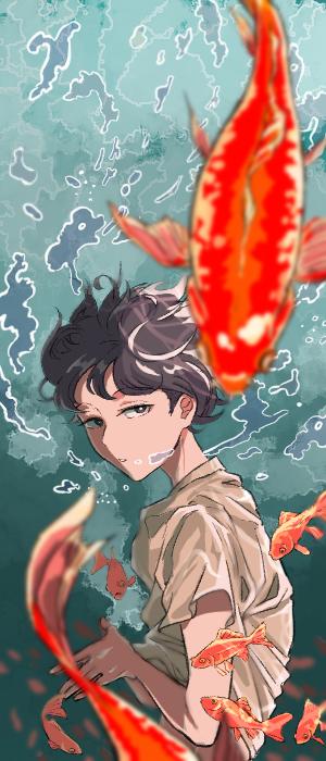 和金沼 Illust of ERA ESUKO goldfish original underwater