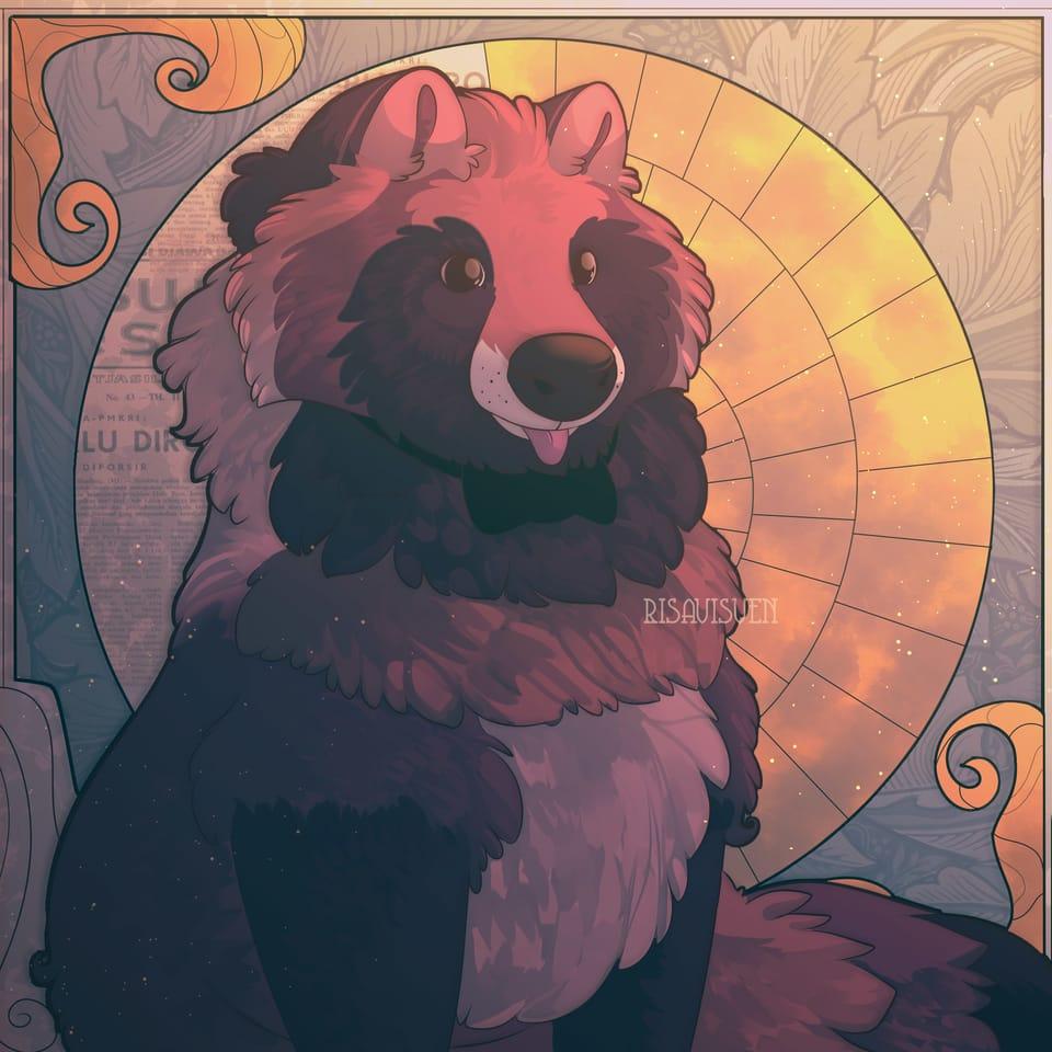 Big floof  Illust of risavisven semirealism animal tanuki vintage raccoon_dog digitaldrawing artnouveau Fluffy feral