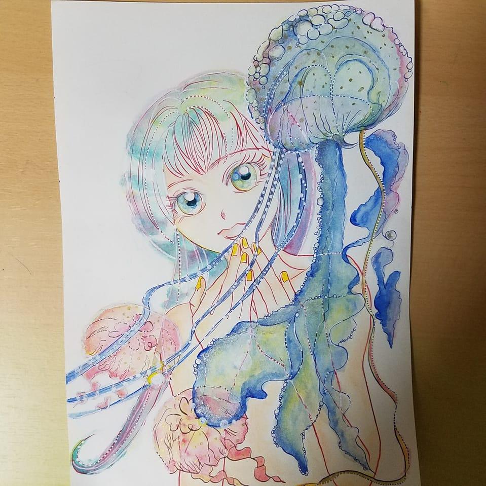 クラゲにゆらめく Illust of おかかうめ original girl jellyfish アナログ 水彩色鉛筆