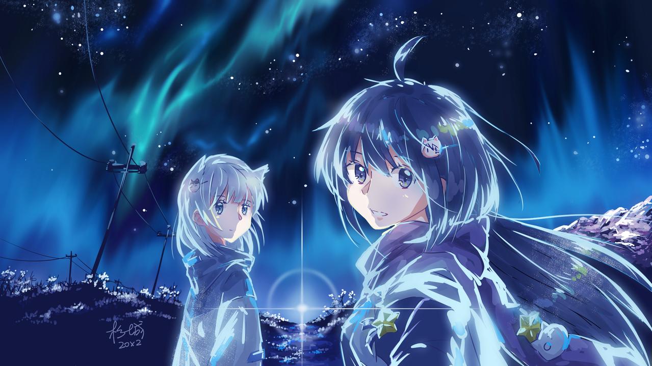 极光之夜 Illust of Asashio杉城 medibangpaint 极光 girl