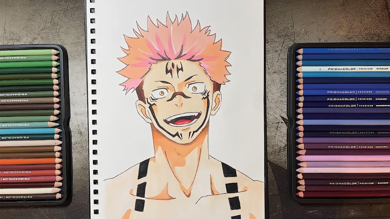 Yuji (kaisen jujutsu) Illust of Clover traditionalart coloredpencil kaisenjujutsu tattoo fanart Animemangadrawing Yuji
