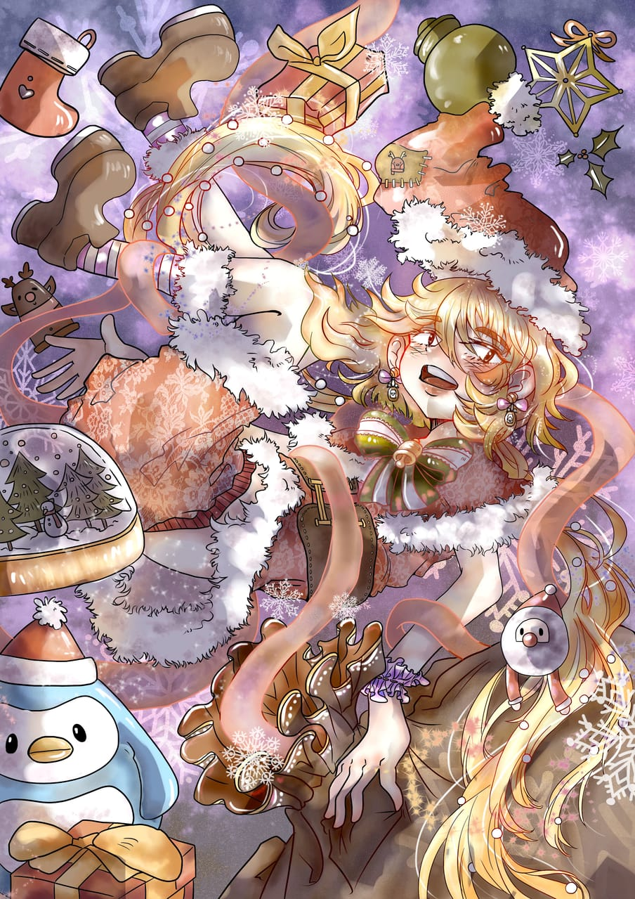 從天而降聖誕女孩 Illust of 仲仲( ˘・з・) December2020_Contest:Santa 賽璐璐 平涂