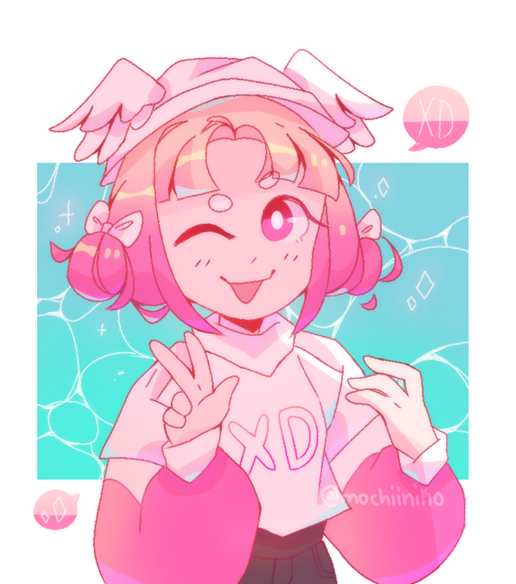 request from I'm a ghost Illust of MochiiNiko medibangpaint drawing girl aesthetic pink request digital cute