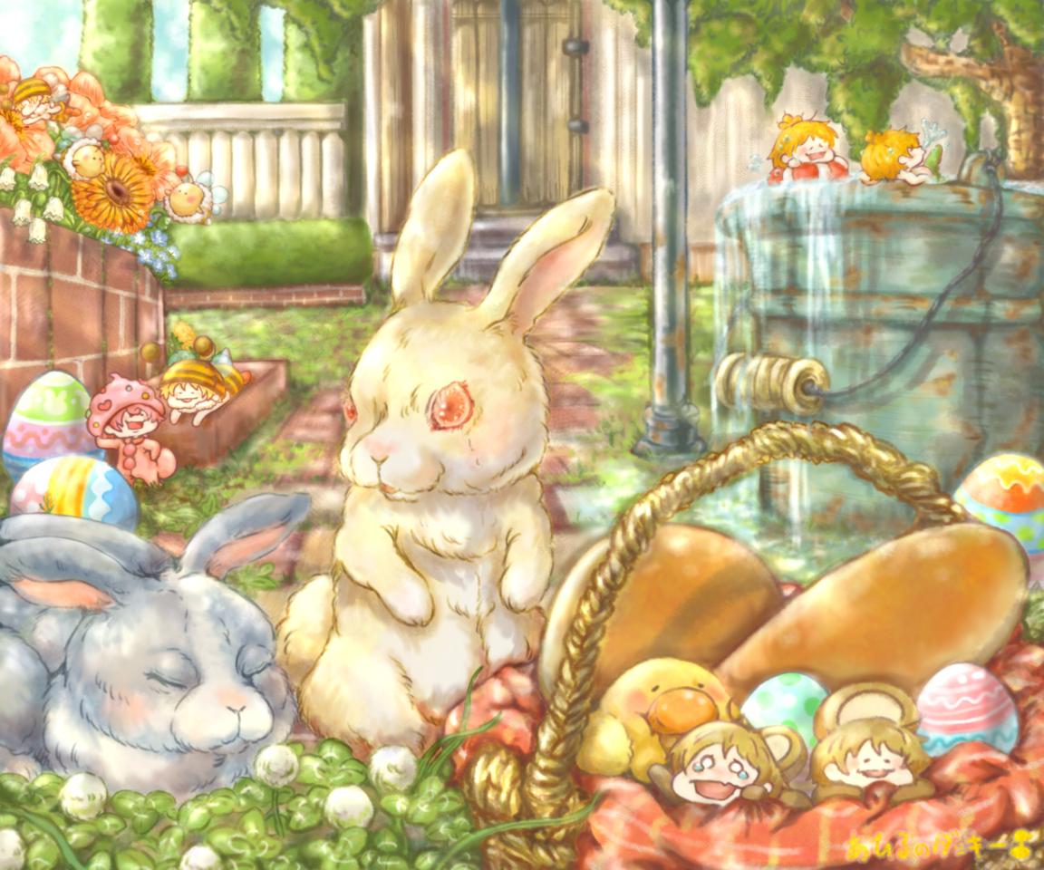 イースターガーデン Illust of あひるのダッキー March.2020Contest:Easter scenery rabbit イースター illustration 風景画