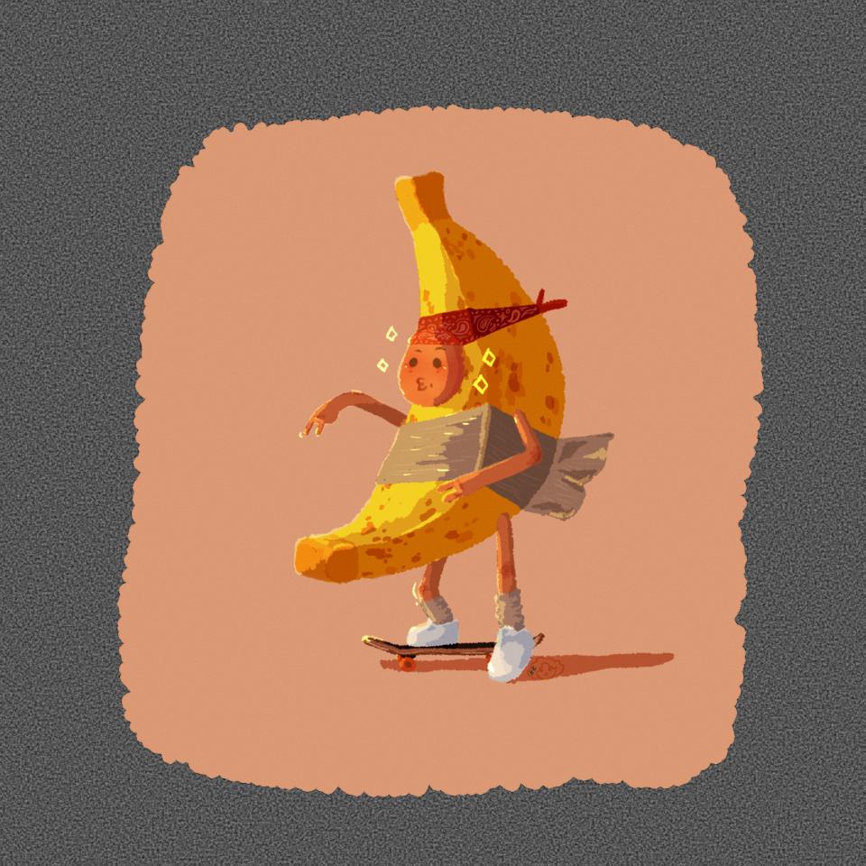 Expensive Banana Skater with a Bandana  Illust of kassybboi October2020_Contest:Food skater skateboard Banana