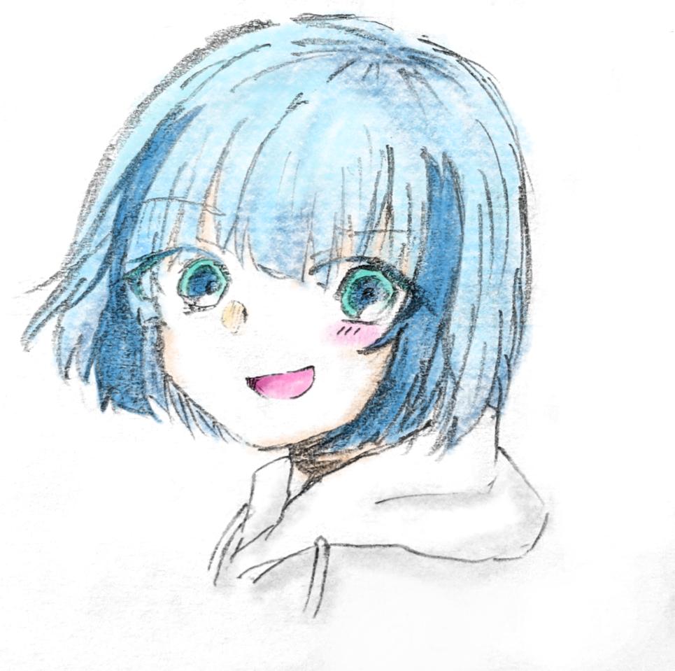 色塗りました 水ちゃんです Illust of 海くん kawaii girl 青髪 oc