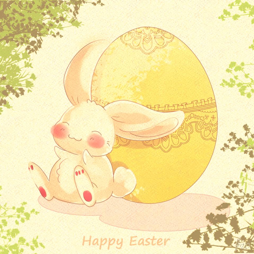 Bunny and egg Illust of ka.tjan March.2020Contest:Easter ARTstreet_Ranking bunny CLIPSTUDIOPAINT easter yellow Egg