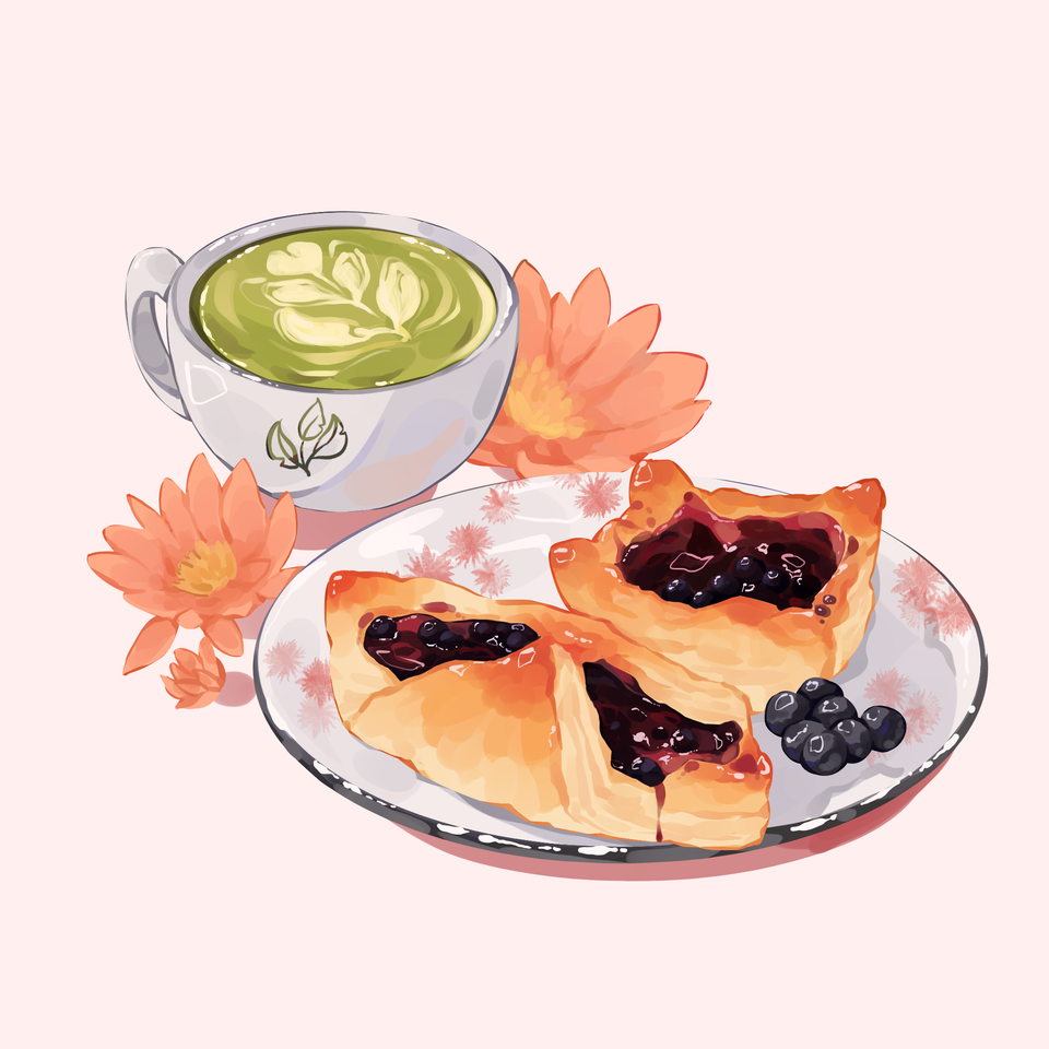 Matcha Latte with Danish Pastry and Blueberries Illust of Mumechi October2020_Contest:Food cute drawing food illustration