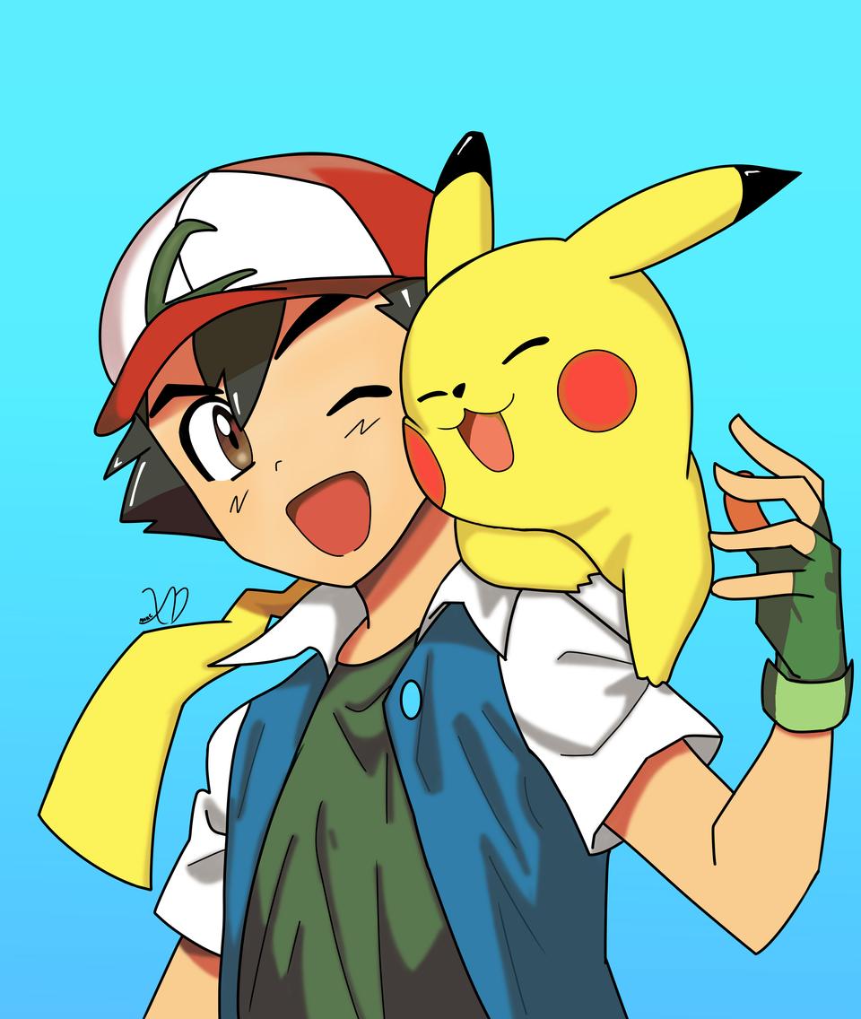 Ash and Pikachu Illust of Yhurie medibangpaint pokemon fanart best friend kawaii ash Pikachu