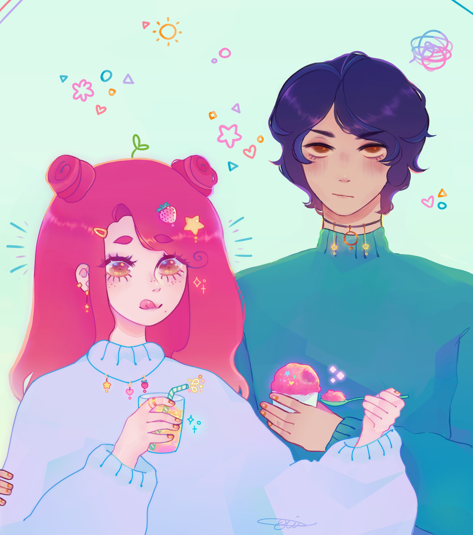 a gift :D Illust of h o ɳ e y d e w ☻︎ oc doodle gift anime myneckhurts