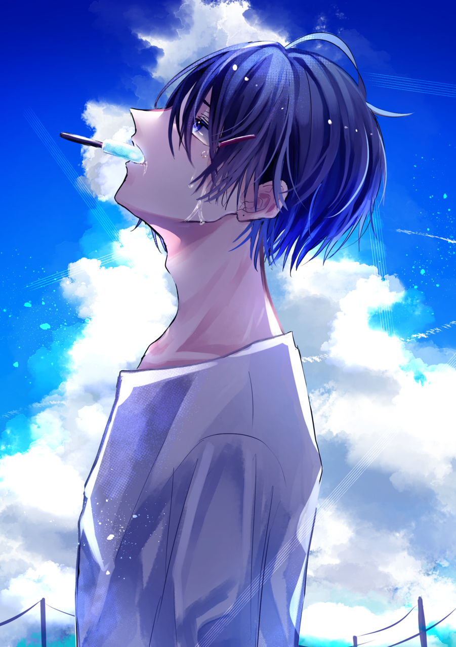 8月のはじめ Illust of 八瀬 illustration summer oc original ice-cream boy