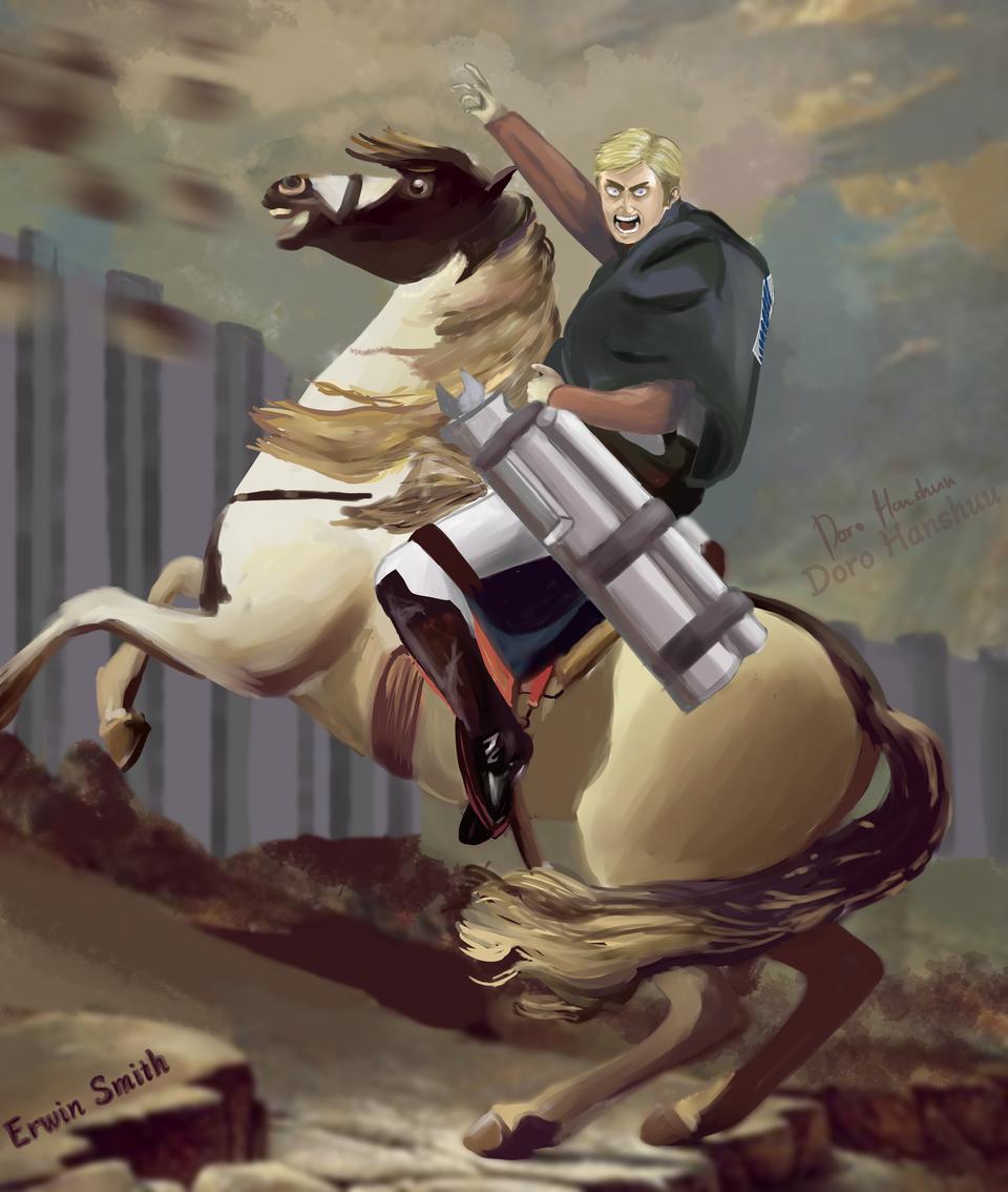 Napoleon,but it's Erwin Smith From Attack on Titan Illust of Doro Hanshuu MasterpieceFanart AttackonTitan painting ErwinSmith anime Napoleon