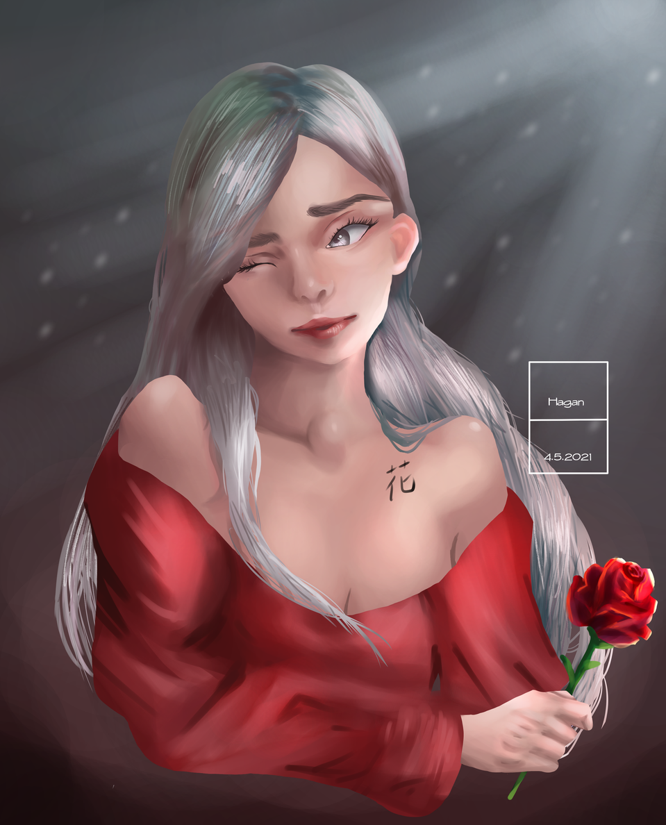 Flower girl Illust of Hagan April2021_Flower