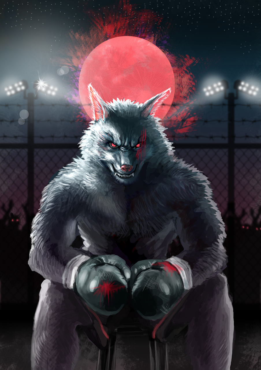Fighting Illust of Jify Chen September2020_Contest:Furry night wolf red moon Therianthropy Fighting