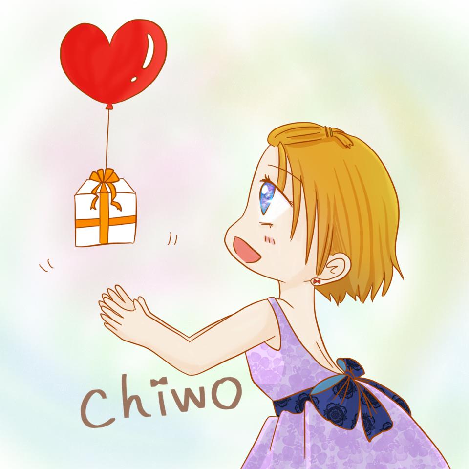 届け Illust of ちを レース 前髪アップ girl Balloon purple heart プレゼント ribbon 茶髪 dress