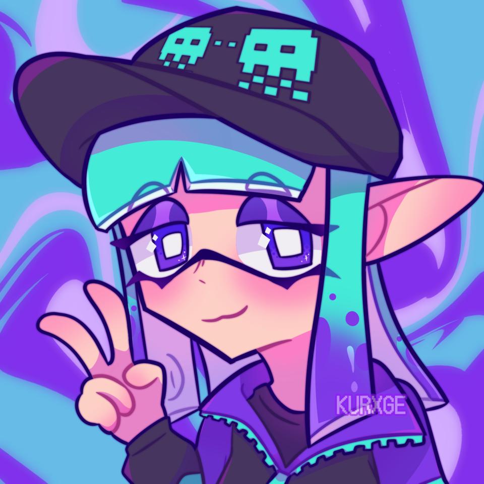 <コ:彡 Illust of kurxge inkling girl splatsona squid purple medibang Splatoon2 Splatoon