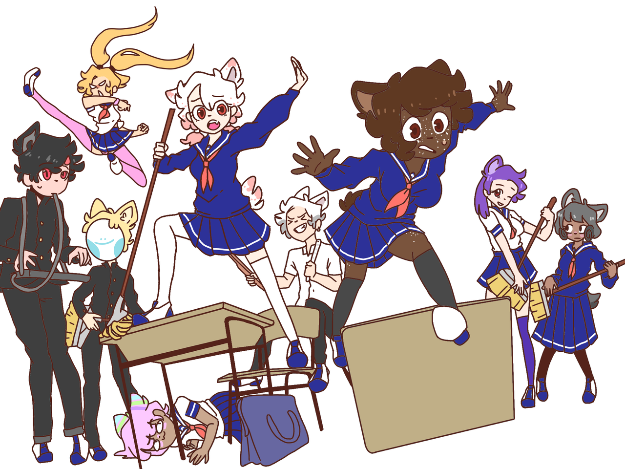 Found this base so I drew them as anime characters
