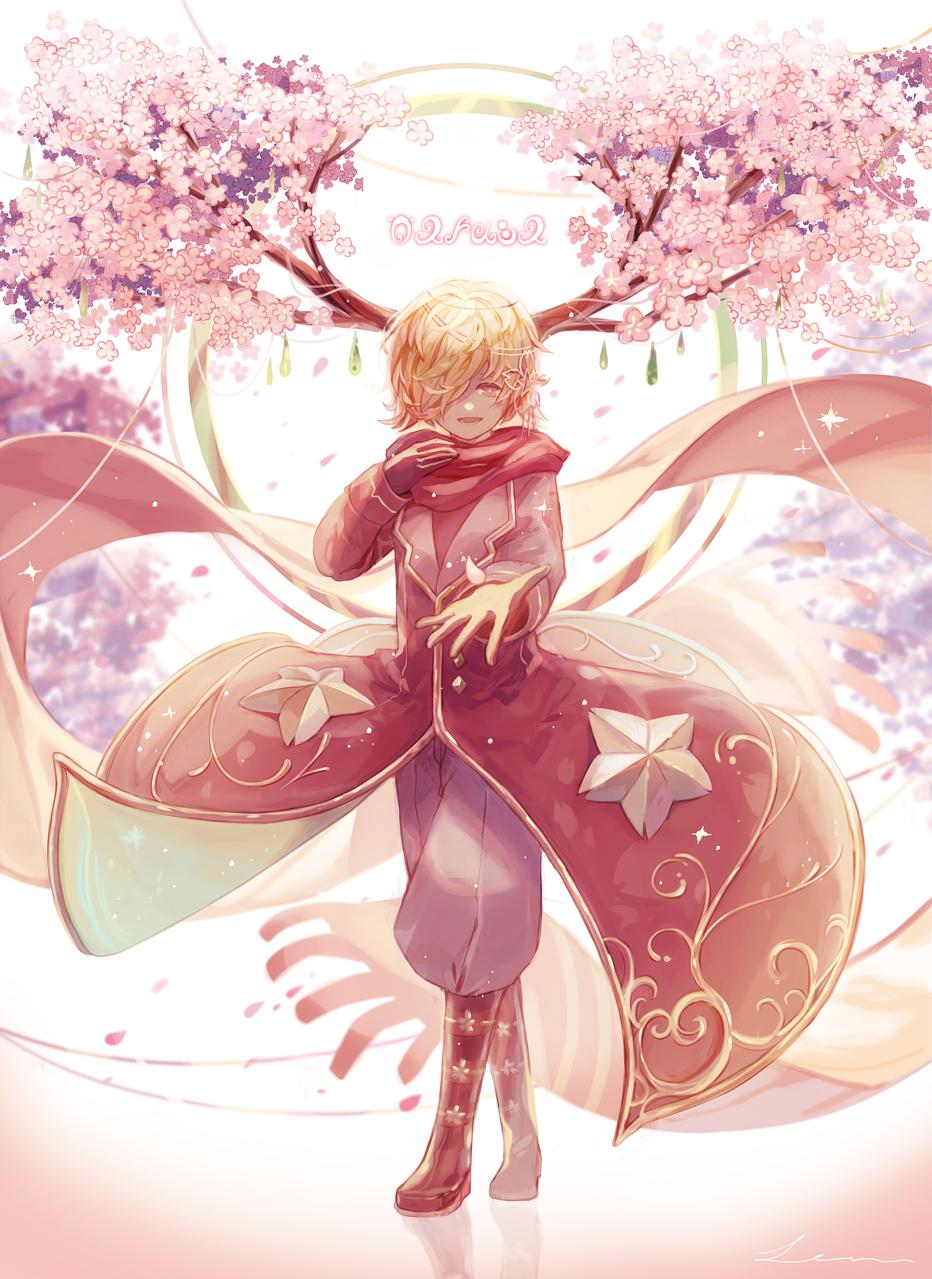 「ひとひらの春を、君に」 Illust of 星灯れぬ fantasy sakura ホシサガスモノ boy pink 春 角っ子 original