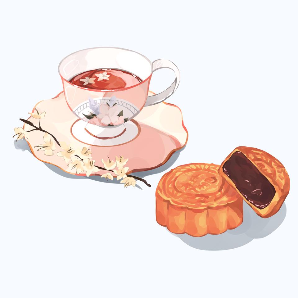 Mooncakes and Tea Illust of Mumechi art drawing iPad_raffle cute illustration food