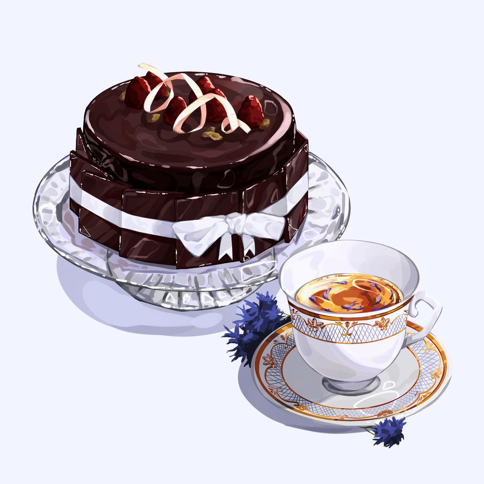 Chocolate Mousse Raspberry cake & Cornflower Tea Illust of Mumechi October2020_Contest:Food cute drawing food illustration