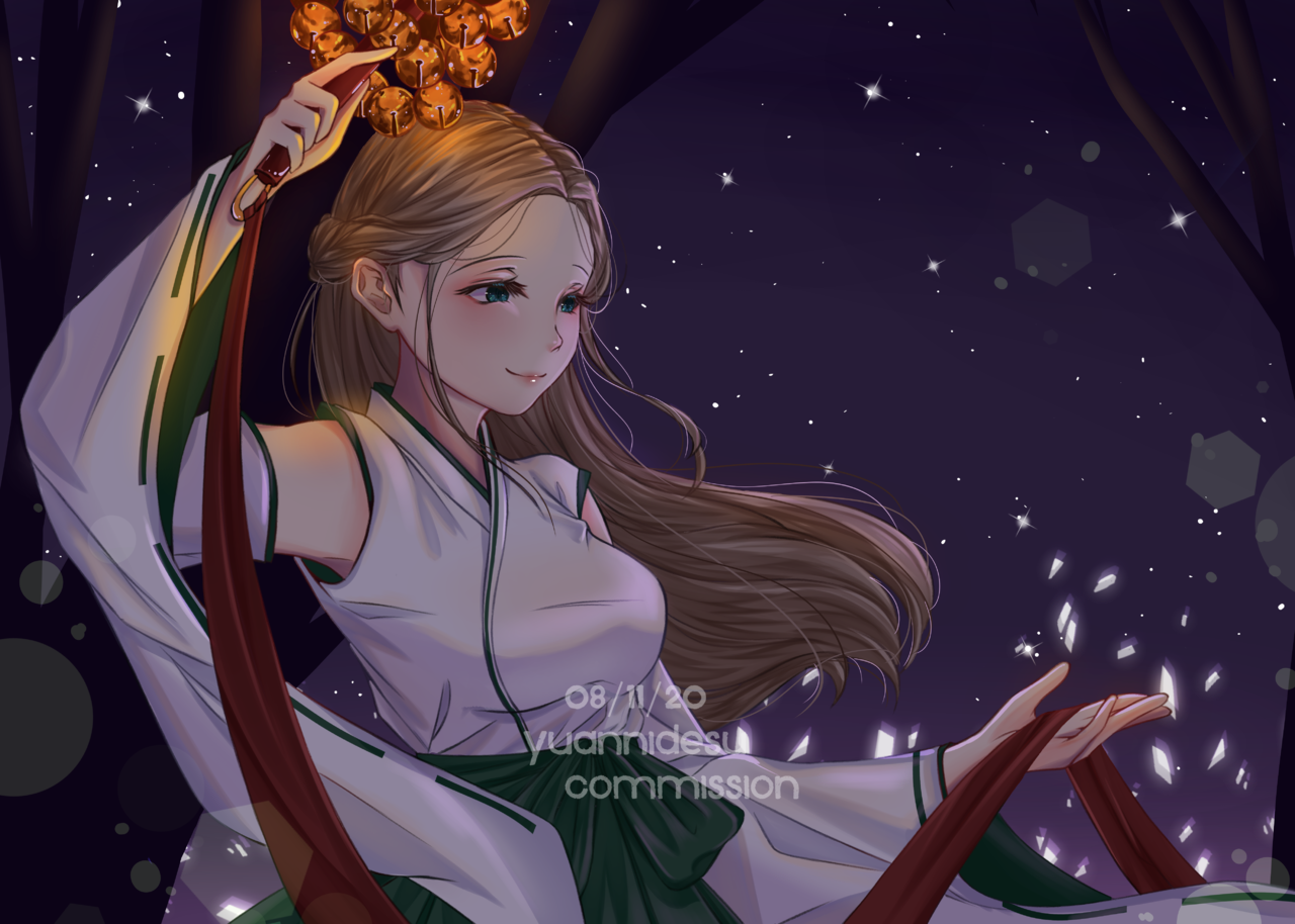 In The Moonlight[Commission] Illust of yuanni night bells originalcharacters Japanese oc cute Miko brownhair commission girl