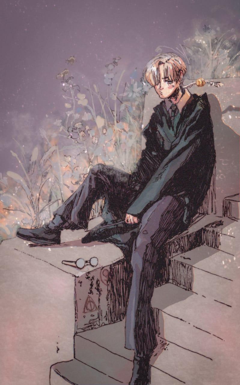 Draco  Illust of Jojidoboro boy illustration dracomalfoy Draco flower イラストレーション Harrypotterfanart Slytherin HarryPotter