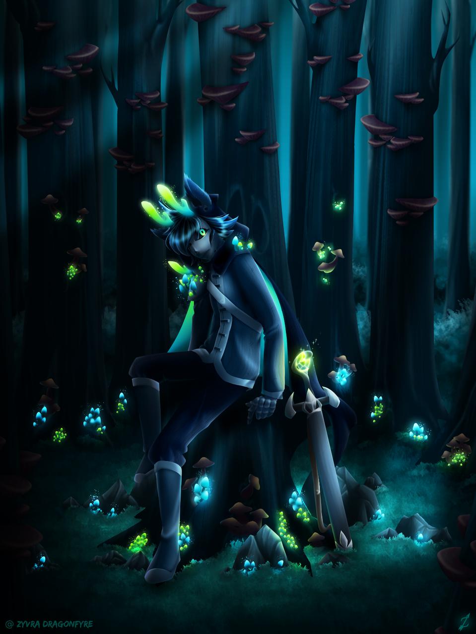 Lueur Voilée Illust of Zyvra Dragonfyre fantasy medibangpaint magic mushroom forest Sans furry fungi skeleton undertale oc