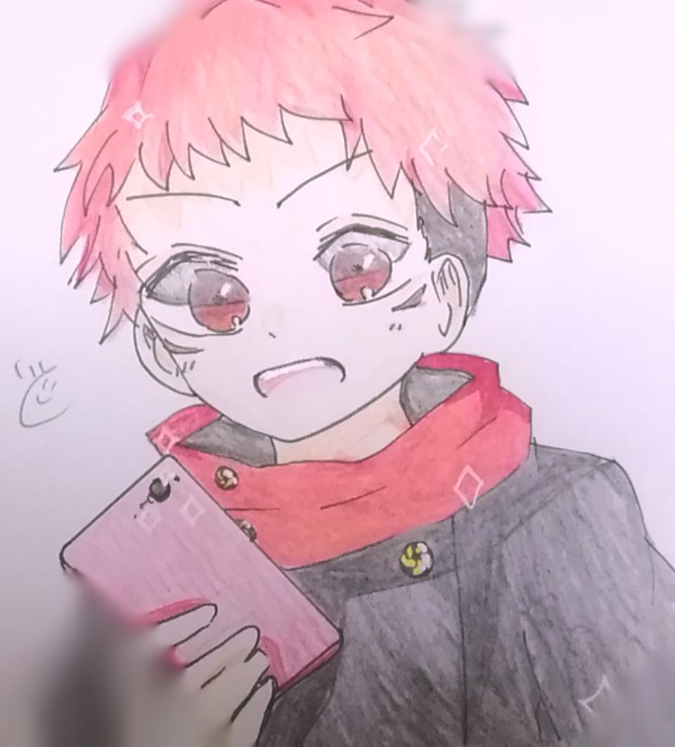 「こっち向いてー!」 Illust of いと JujutsuKaisenFanartContest JujutsuKaisen Yuji_Itadori coloredpencil アナログ