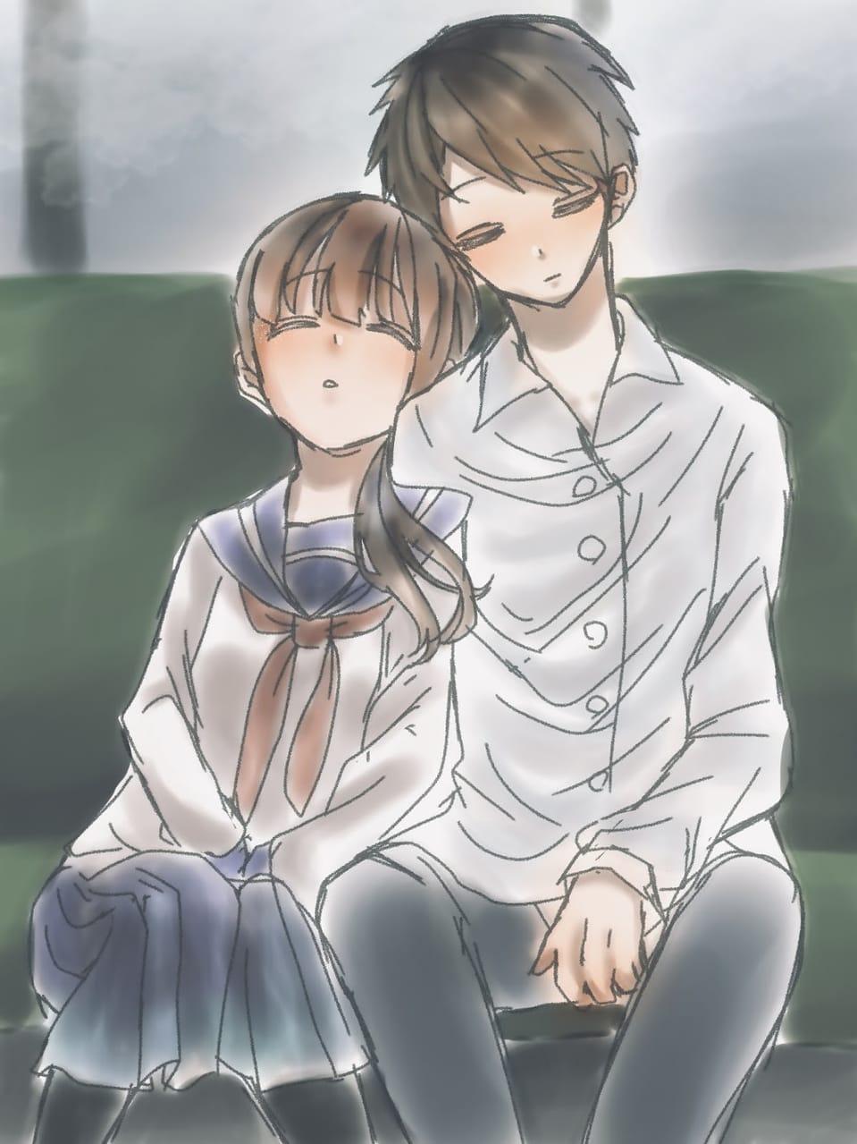 リア充 Illust of フラミパン couple doodle 2人 train 過去絵 oc リア充 sailor_uniform