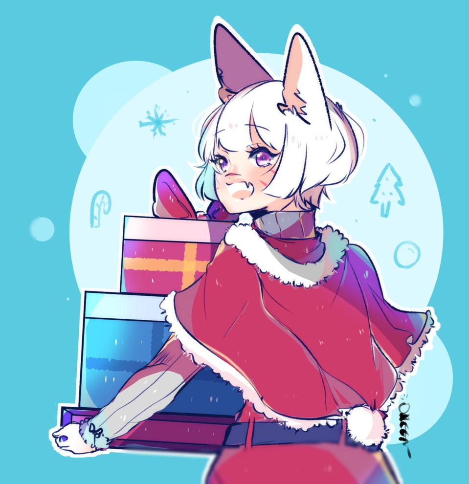 Merry Christmas! Illust of Oreen dec.2019Contest Miqote Kitty FfxivM Ff14 Ffxiv