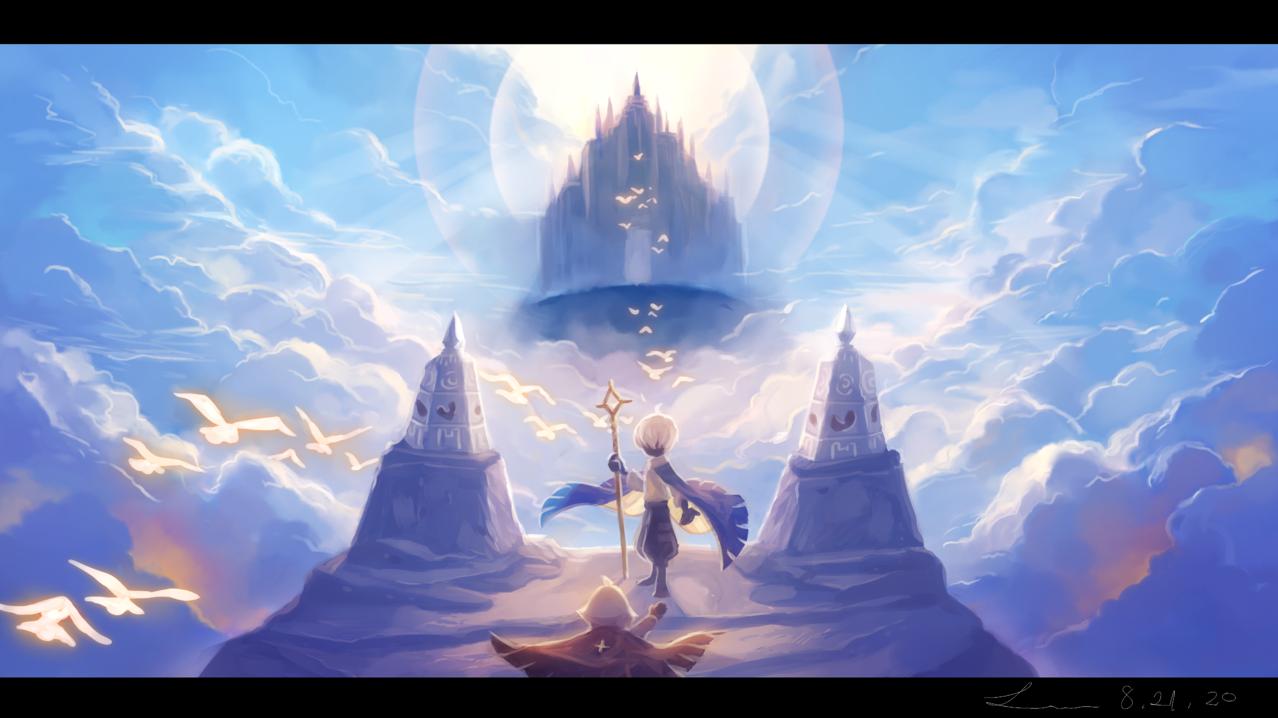 「あの鐘の鳴る方へ」 Illust of 星灯れぬ fantasy blue thatskygame 風景画 clouds impasto skychildrenoflight sky星を紡ぐ子どもたち scenery