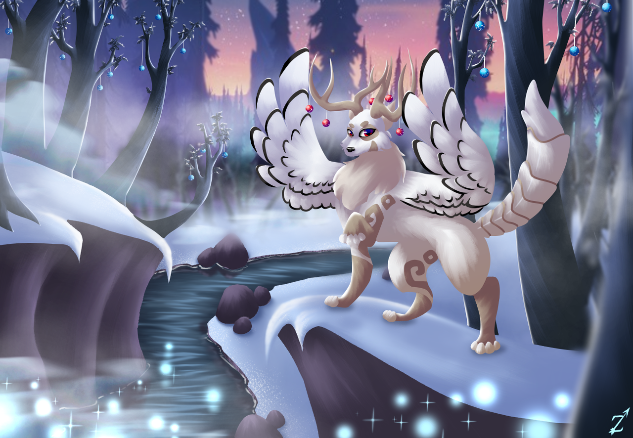 Aurora Sky Illust of Zyvra Dragonfyre medibangpaint aurora wolf winter snow oc species dragon deer Christmas furry