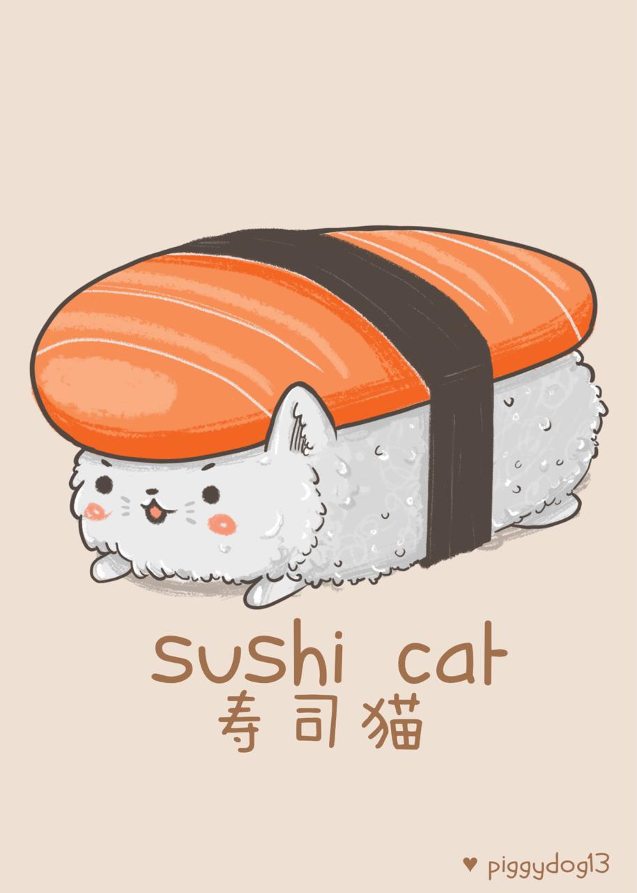 Sushi Cat Illust of PiggyDog13 DOGvsCAT_CAT Iz cat fish adorble