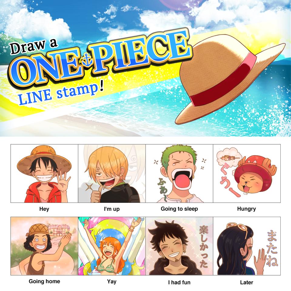 One Piece LINE stamp Illust of shy_愛生 Nami ONEPIECEChallenge fanart RoronoaZoro Sanji MonkeyD.Luffy ONEPIECE Usopp chopper Luffy