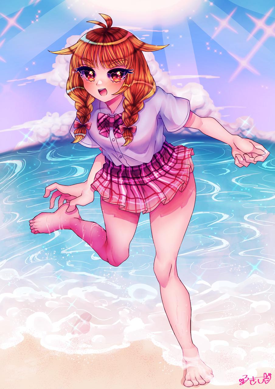 夏先取り Illust of カツシカルキコ uniform girl sea original みつあみ oc