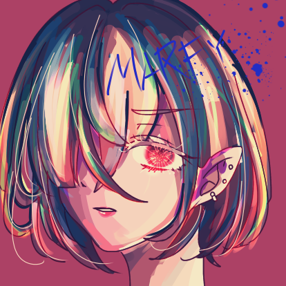 練習 Illust of Marfy kawaii girl rainbow かっこいい 油彩風