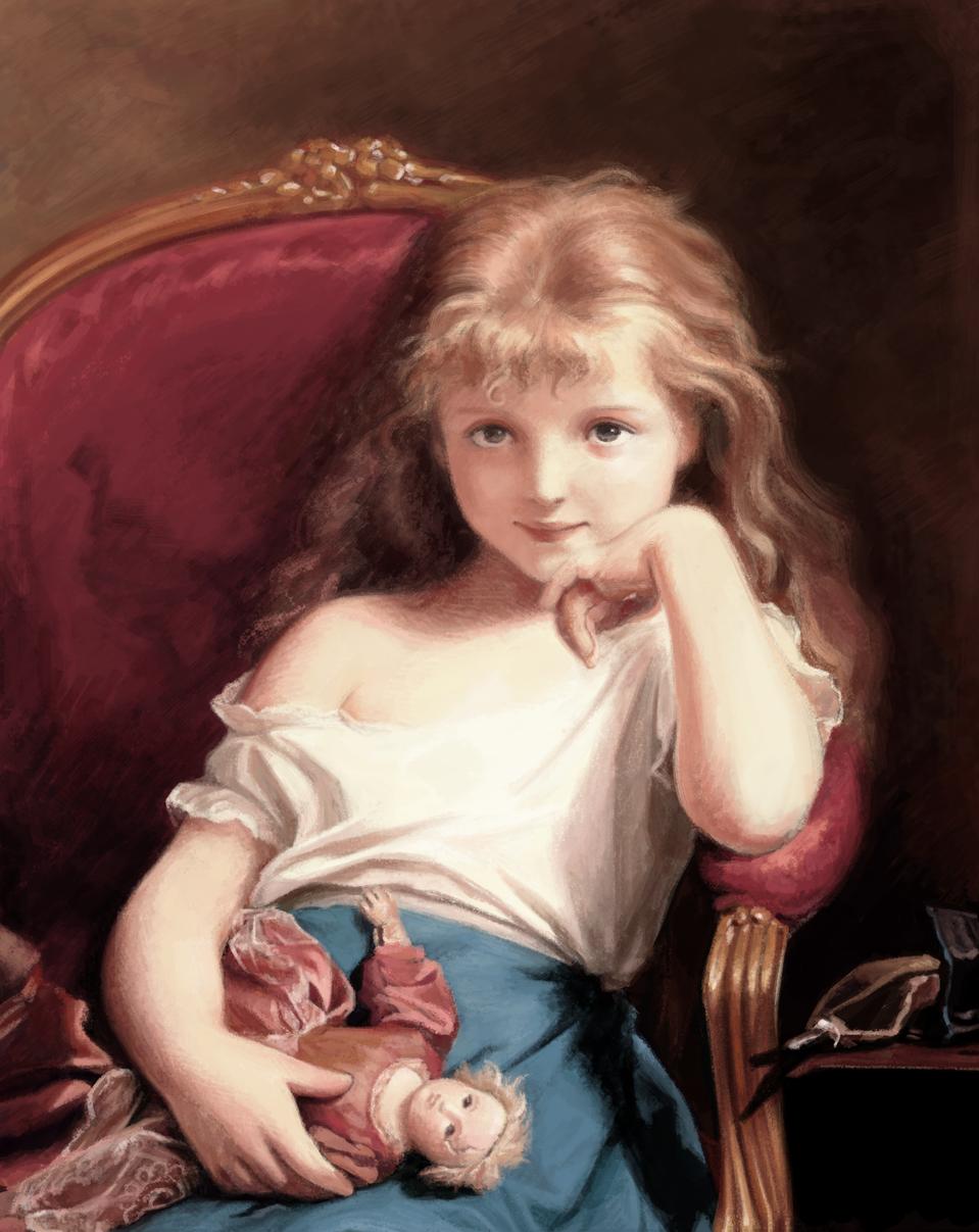 Fritz Zuber-Buhler / Young girl holding a doll Illust of yahamima MasterpieceFanart