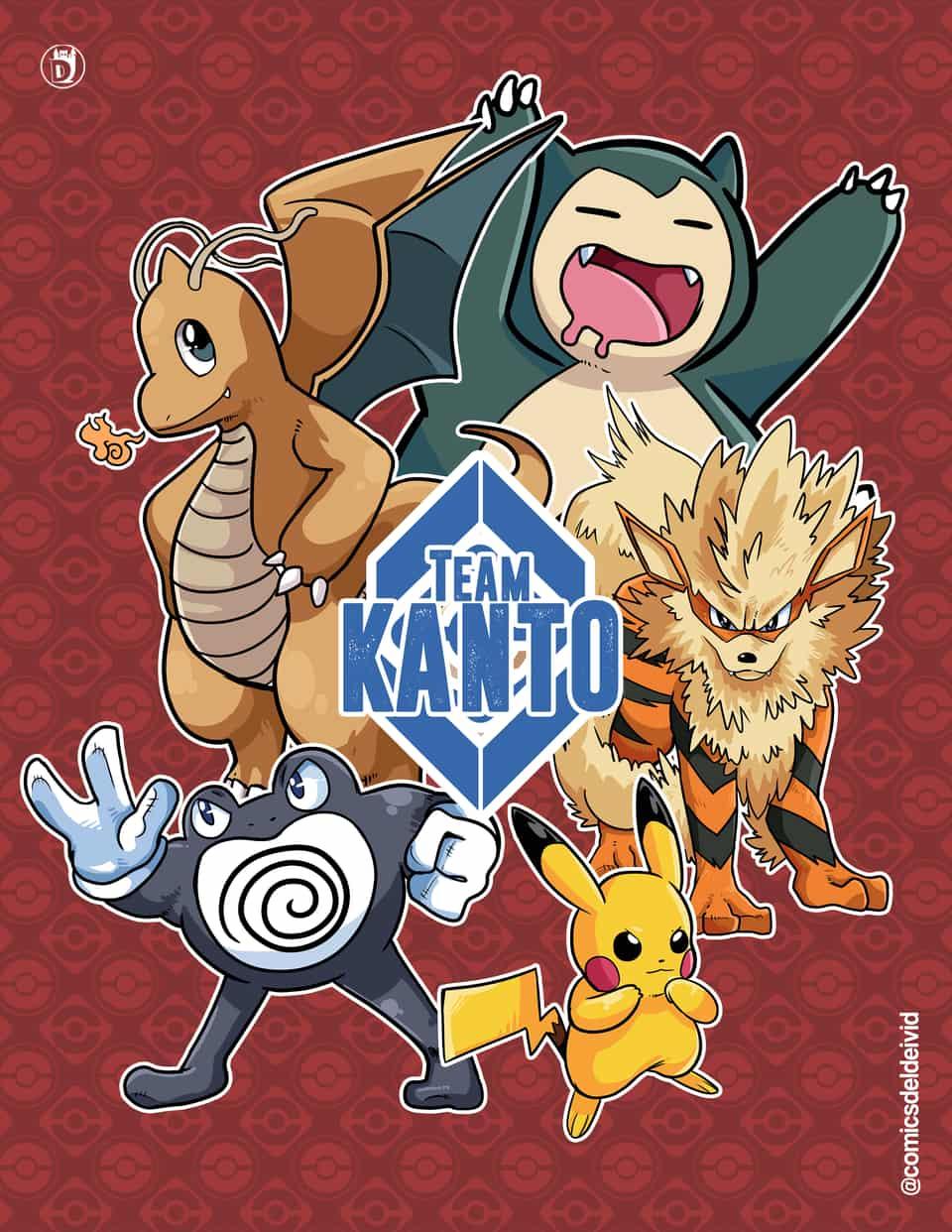 Kanto Team Red Illust of DCastlee poster ピカチュウ kanto カビゴン rojo pokemon ニョロボン ウィンディ カイリュー
