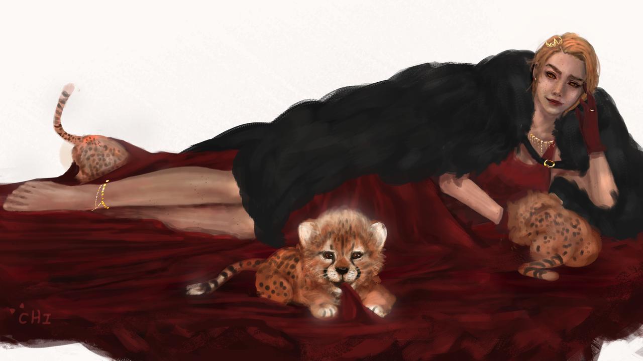 queen of Cheetah Illust of CHI-NAI January2021_Contest:OC girl animal eyes illustration cat original