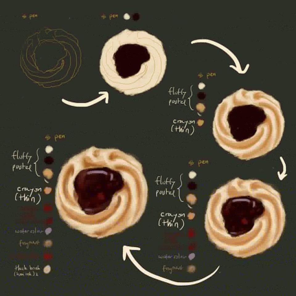 Cookies with Raspberry Jam (Painting Tutorial) Illust of Andinatz medibangpaint tutorial illustration Yummy Kawai cute Oishi Cookies food