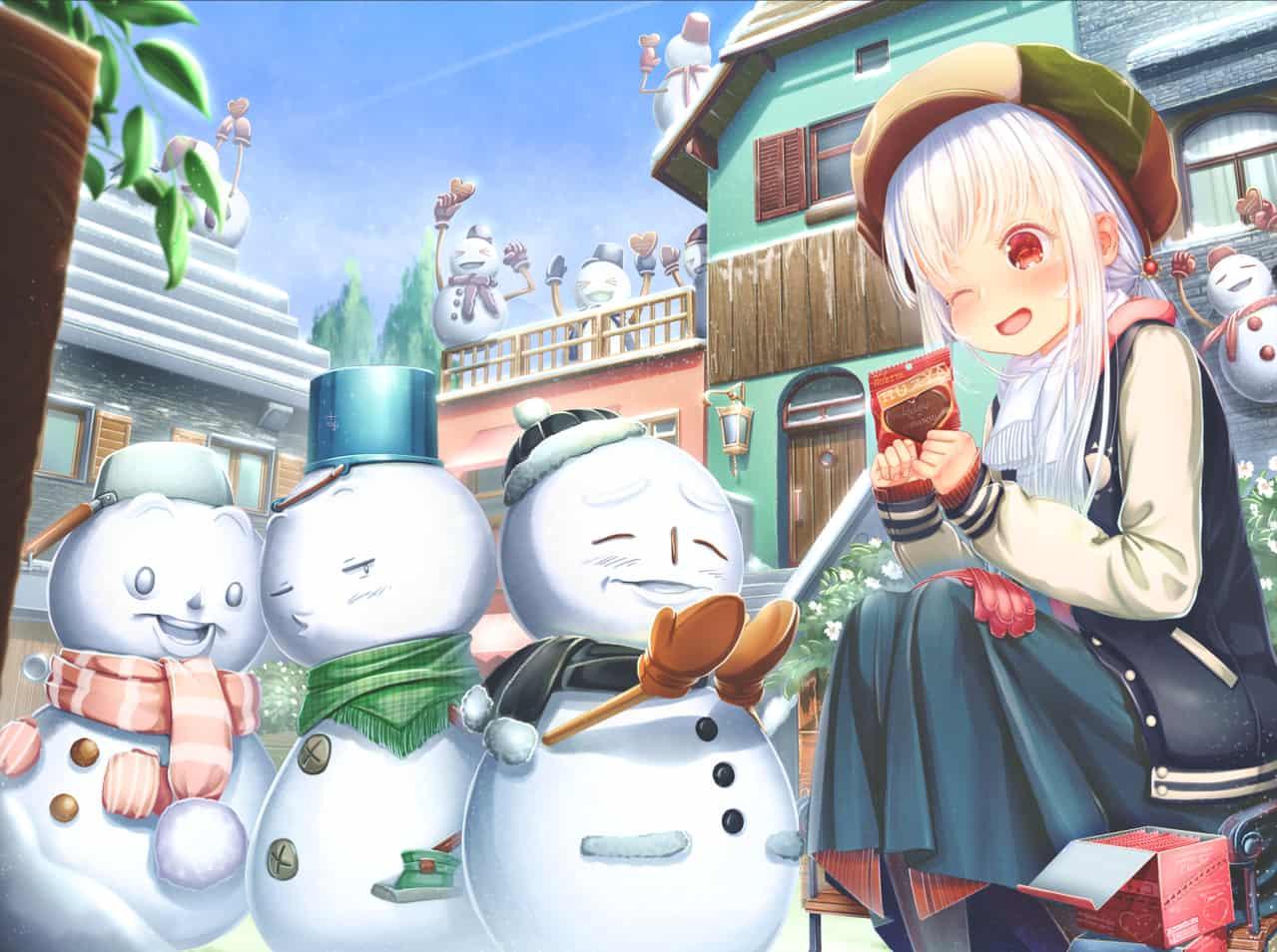 雪だるまもとけるぜ Illust of あいうあぼ snow girl winter original 雪だるま