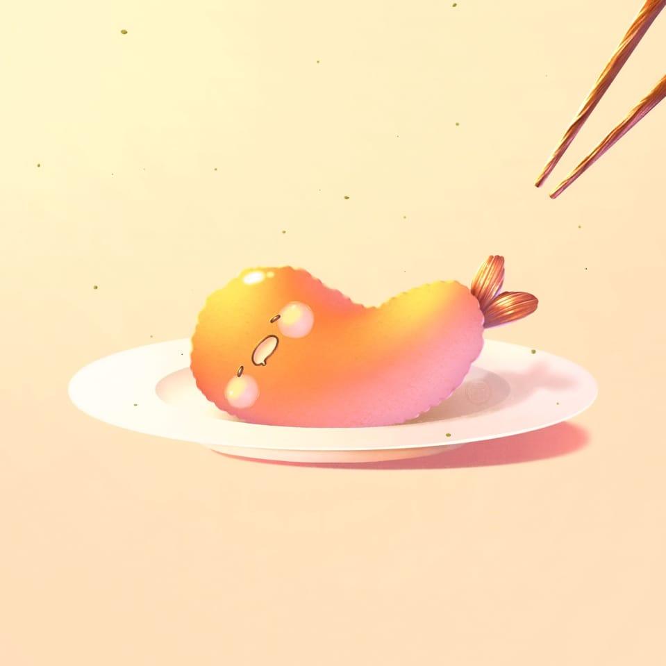 Sleepy Tempura~😴🍤 Illust of Gummy.yy food illustration Tempura illustrations cute foodillustrations dreamy