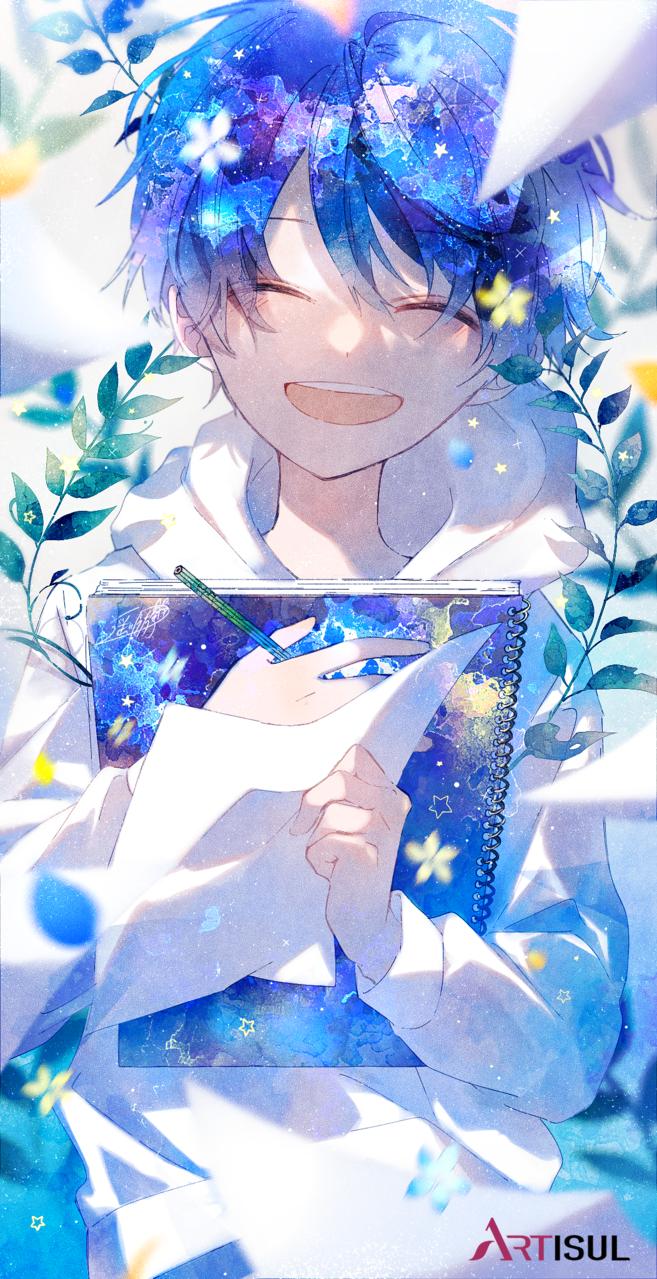 描くって楽しい! Illust of 遥川遊 original blue oc watercolor オリジナル創作 boy cute