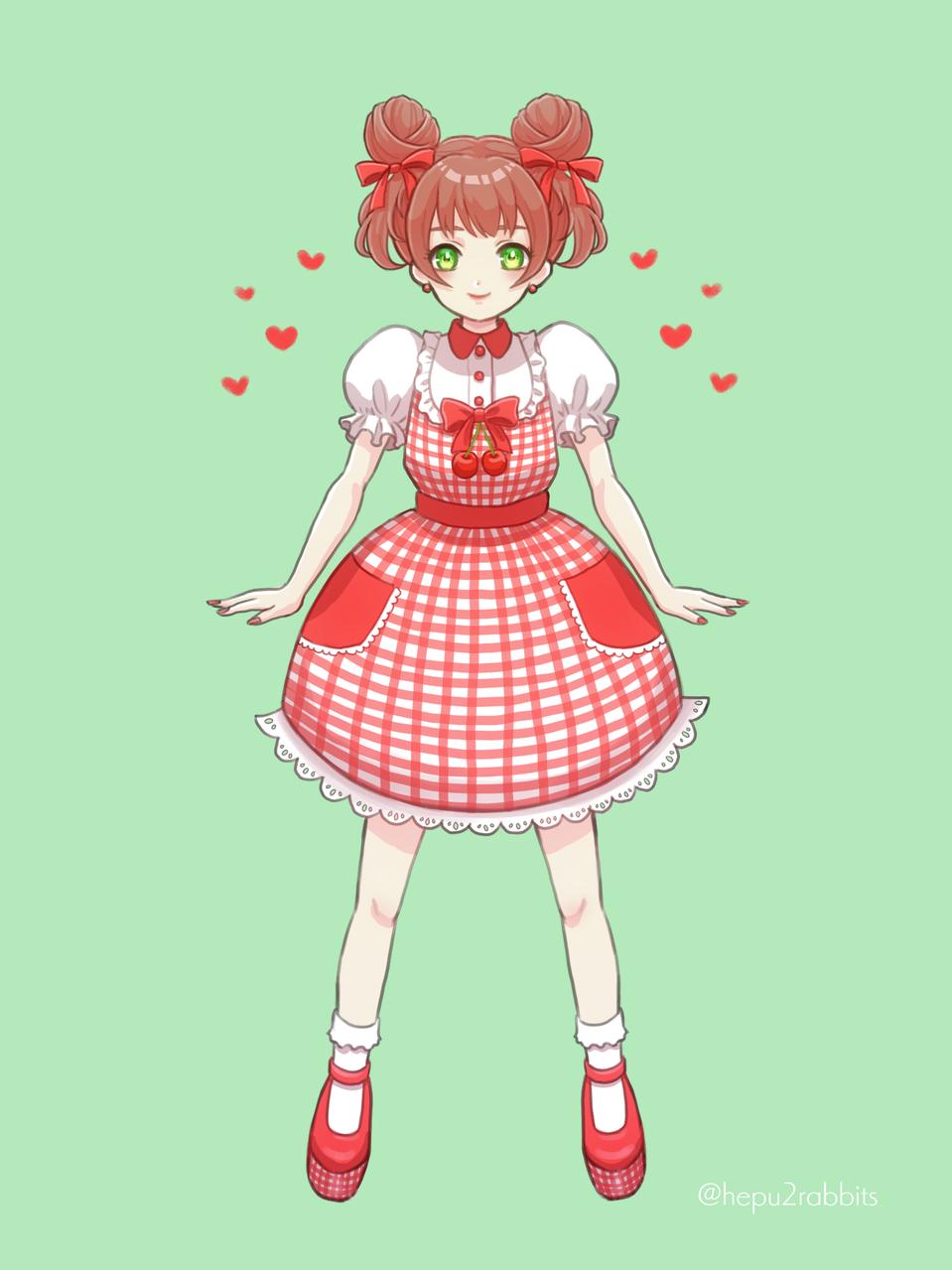 🍒さくらんぼちゃん🍒 Illust of へぷうさ June2021_Anthropomorphism original Personification oc girl さくらんぼ