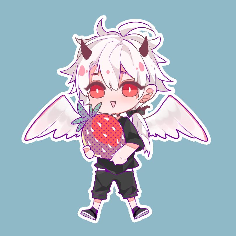儿子 Illust of 黑磺酸 medibangpaint 銀髪 strawberry horn Yaeba