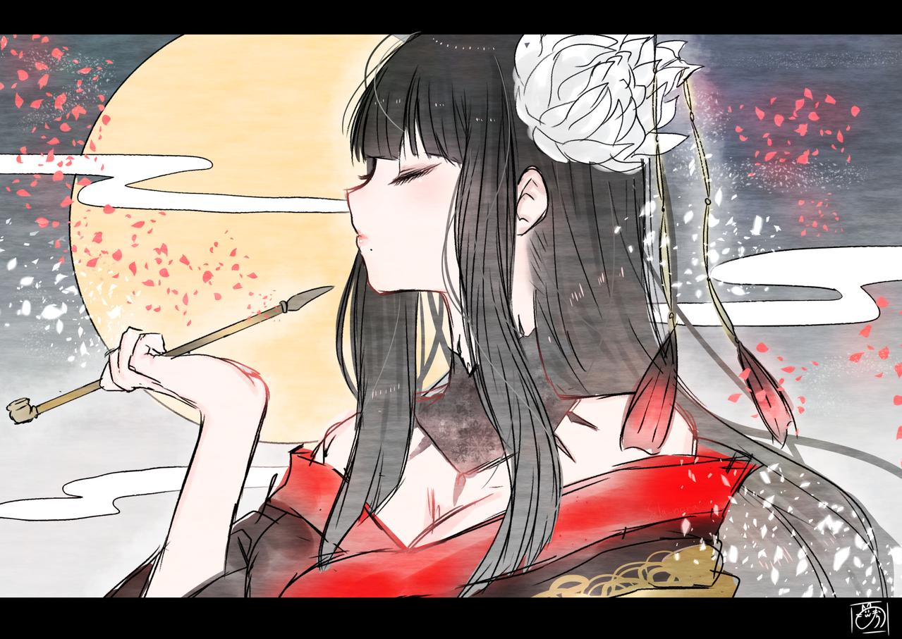 夜露 Illust of nora medibangpaint kimono sideface FF14 girl ヨツユ