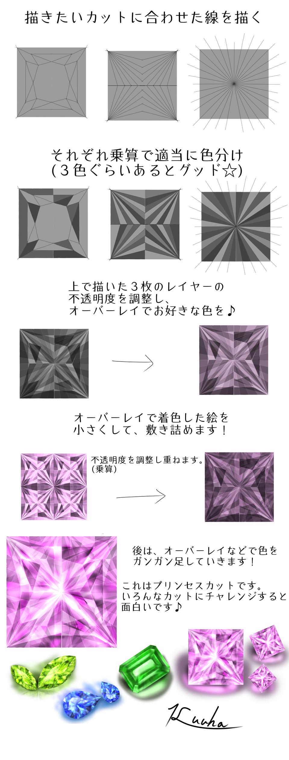 宝石メイキング2☆中級~上級編 Illust of くうは medibangpaint メイキング 宝石 original