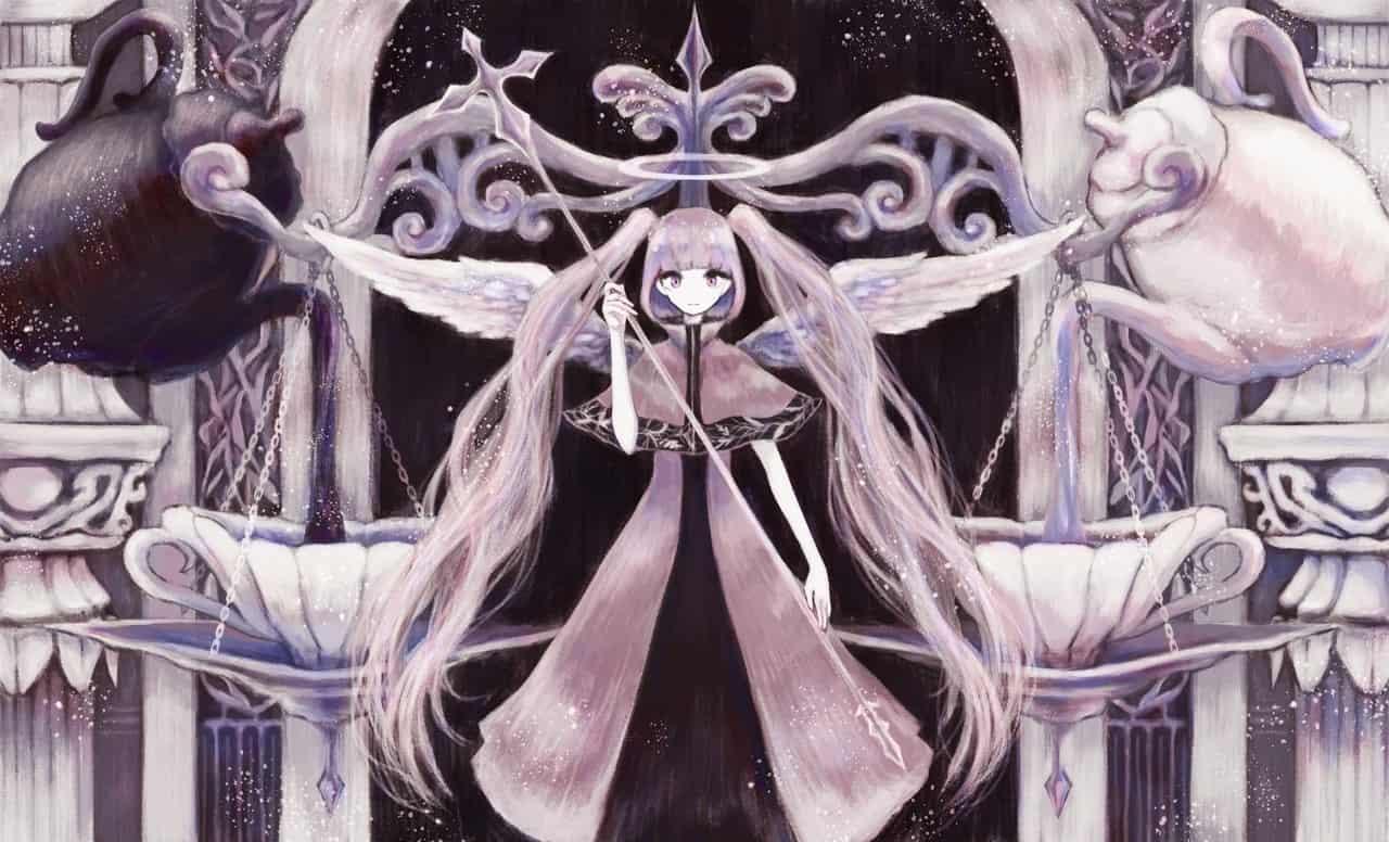 裁きの天秤 Illust of 伊砂祐李 (Yuri Isa) original angel pinkhair girl 天秤