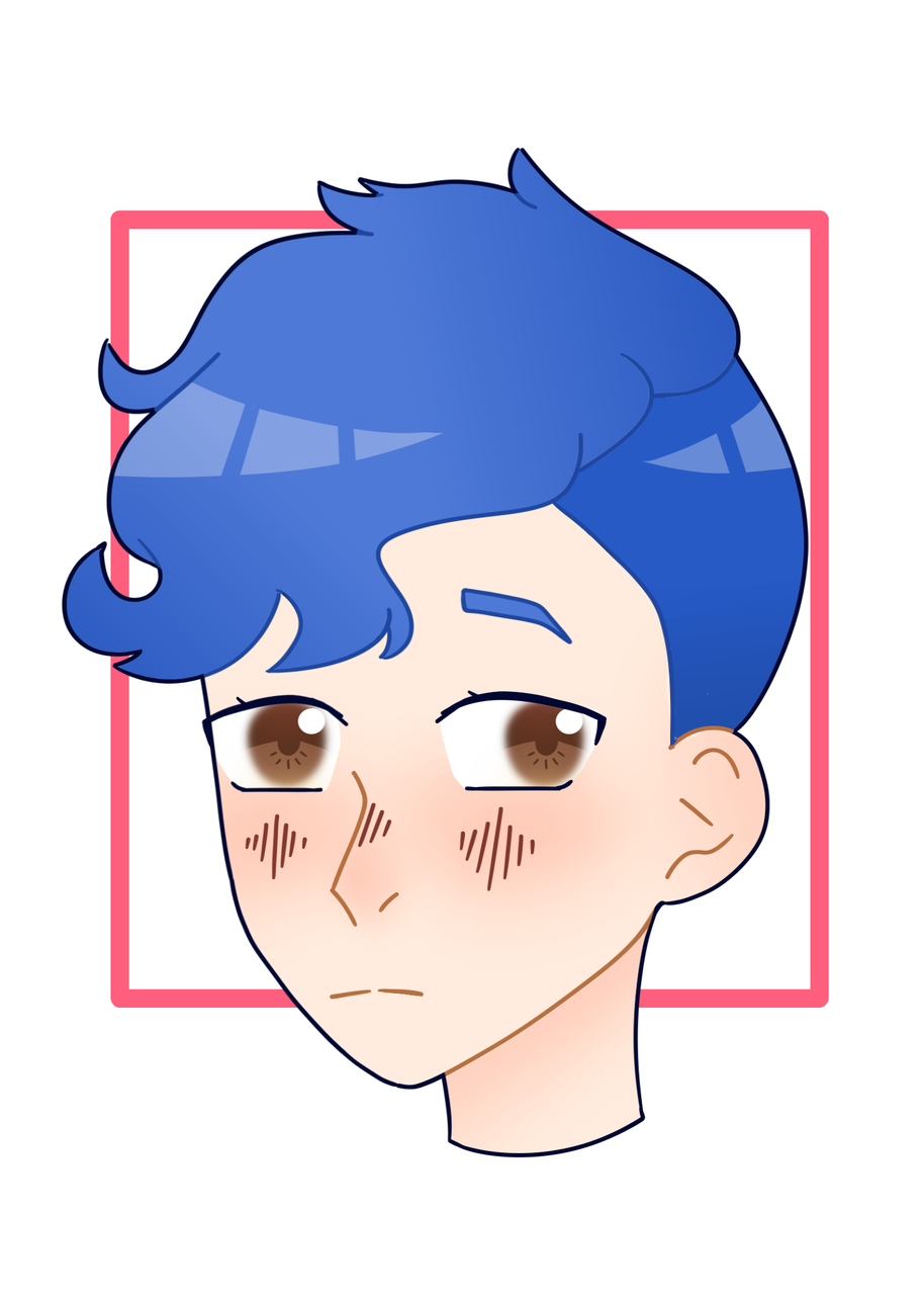 Blue Boy Illust of 🔷 Moon 🔷 medibangpaint brown blue blueboy head eyes browneyes bluehair