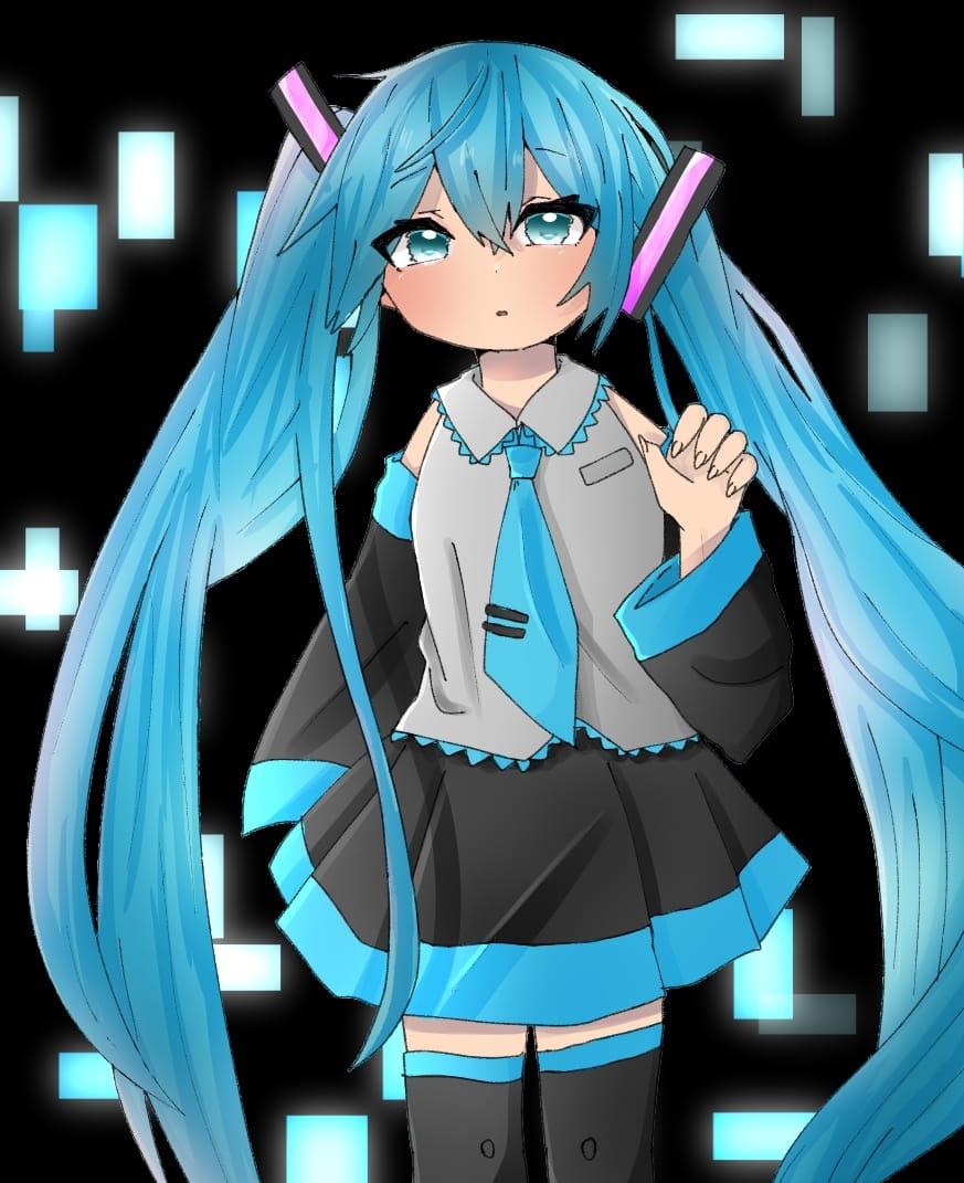線画かりました! Illust of けいみり hatsunemiku twin_ponytails miku line_art girl 線画お借りしました medibangpaint